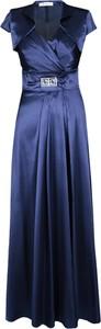 Granatowa sukienka Fokus rozkloszowana maxi z bawełny
