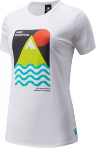 Bluzka New Balance w sportowym stylu z krótkim rękawem z nadrukiem
