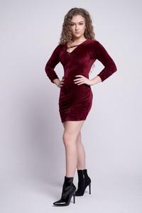 Czerwona sukienka 2mline z dzianiny mini