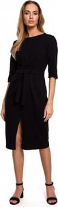 Czarna sukienka MOE z okrągłym dekoltem midi z bawełny