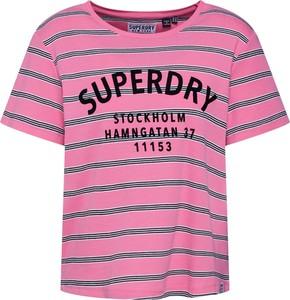 Różowa bluzka Superdry z krótkim rękawem z okrągłym dekoltem z bawełny