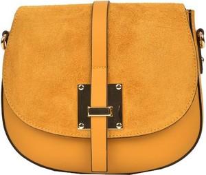 Żółta torebka Sofia Cardoni na ramię ze skóry średnia