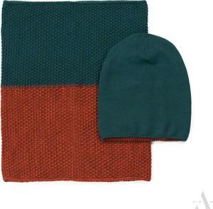 POLSKA Dwukolorowy komplet: czapka i szalik / komin zielono-rudy