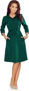 Zielona sukienka NUMOCO midi szmizjerka z długim rękawem