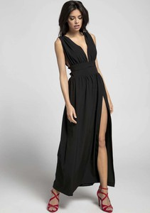 Czarna sukienka Nommo maxi bez rękawów