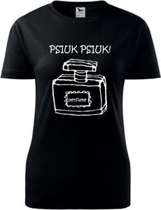 Czarny t-shirt TopKoszulki.pl z okrągłym dekoltem z krótkim rękawem