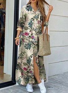 Sukienka Sandbella maxi koszulowa z długim rękawem