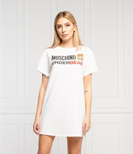Sukienka Moschino z krótkim rękawem prosta z okrągłym dekoltem