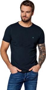 Granatowy t-shirt LANCERTO z bawełny