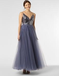 Niebieska sukienka VM rozkloszowana z dekoltem w kształcie litery v na ramiączkach