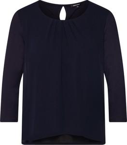 Niebieska bluzka More & More z okrągłym dekoltem z długim rękawem