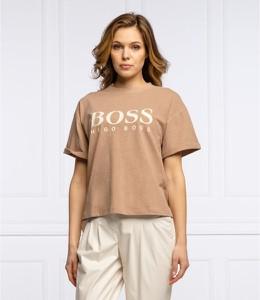 Brązowa bluzka Hugo Boss z krótkim rękawem w młodzieżowym stylu