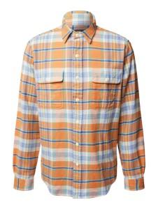 Pomarańczowa koszula POLO RALPH LAUREN z klasycznym kołnierzykiem z bawełny w stylu casual