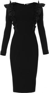 Czarna sukienka Yuliya Babich z okrągłym dekoltem z długim rękawem