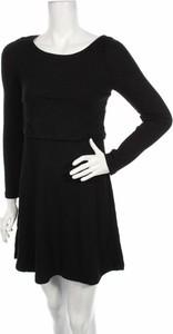 Czarna sukienka Springfield rozkloszowana z długim rękawem mini