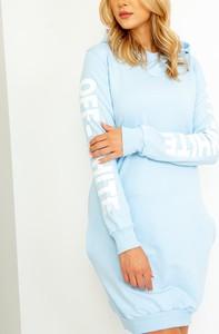 Niebieska sukienka ZOiO.pl z długim rękawem z okrągłym dekoltem mini