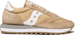 Brązowe buty sportowe Saucony-originals z płaską podeszwą sznurowane z zamszu