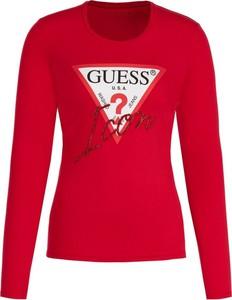 Czerwona bluzka Guess z okrągłym dekoltem w stylu casual z długim rękawem