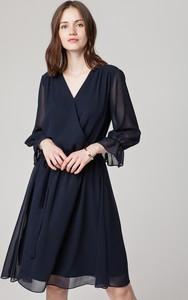 Granatowa sukienka Solar z długim rękawem z tkaniny rozkloszowana