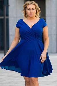 Niebieska sukienka KARKO z krótkim rękawem mini z dekoltem w kształcie litery v