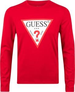 Czerwony t-shirt Guess z długim rękawem z bawełny