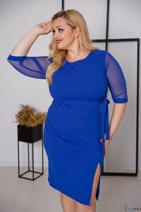 Niebieska sukienka tono.sklep.pl ołówkowa z tiulu z długim rękawem