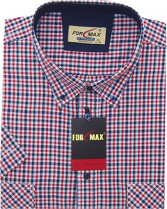 Fioletowa koszula Formax z kołnierzykiem button down z krótkim rękawem z bawełny