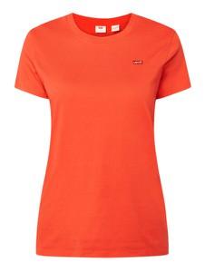 Pomarańczowa bluzka Levis z bawełny z okrągłym dekoltem z krótkim rękawem