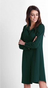 Zielona sukienka Ivon z długim rękawem z tkaniny