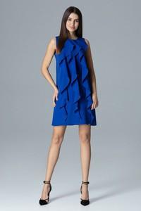 Niebieska sukienka Figl bez rękawów z okrągłym dekoltem mini