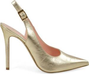 Złote szpilki Gassu na szpilce ze spiczastym noskiem w stylu klasycznym