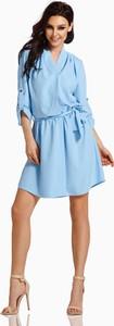 Niebieska sukienka Lemoniade w stylu casual koszulowa z dekoltem w kształcie litery v