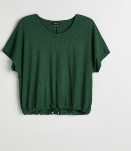 Zielona bluzka Reserved z okrągłym dekoltem