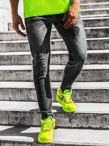 Czarne jeansy ozonee.pl z jeansu w młodzieżowym stylu
