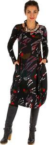 Sukienka Aller Simplement z bawełny z okrągłym dekoltem z długim rękawem