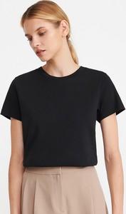 Czarny t-shirt Reserved w stylu casual z bawełny z okrągłym dekoltem