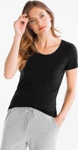 Czarny t-shirt YESSICA w młodzieżowym stylu z krótkim rękawem z bawełny