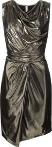 Złota sukienka bonprix BODYFLIRT boutique w stylu glamour z dekoltem woda