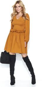 Żółta sukienka Makadamia z długim rękawem