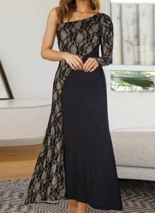 Czarna sukienka Cikelly maxi z dekoltem w kształcie litery v ołówkowa