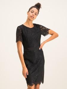 Czarna sukienka Hugo Boss ołówkowa z krótkim rękawem z okrągłym dekoltem