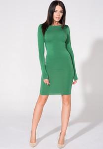 Zielona sukienka Tessita z okrągłym dekoltem z długim rękawem