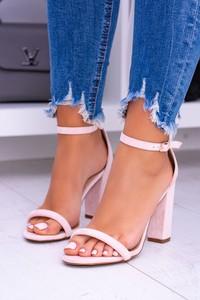 Różowe sandały Lu Boo z klamrami z zamszu