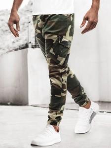 Spodnie producent niezdefiniowany w militarnym stylu z bawełny