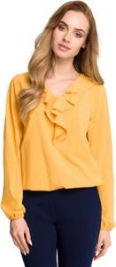 Żółta bluzka Style w stylu casual z tkaniny z długim rękawem