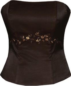 Czarna bluzka Fokus bez rękawów w stylu glamour
