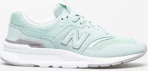 Miętowe buty sportowe New Balance ze skóry sznurowane z płaską podeszwą