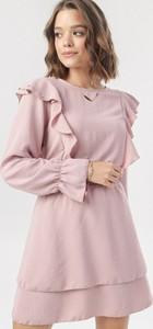 Różowa sukienka born2be mini trapezowa