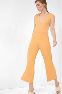 Pomarańczowa sukienka ORSAY maxi z dekoltem w kształcie litery v