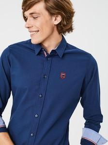 Niebieska koszula Diverse z klasycznym kołnierzykiem z tkaniny z długim rękawem